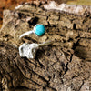Cast Coral And Turquoise Adjustable Ring