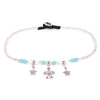 Turquoise and cream anklet