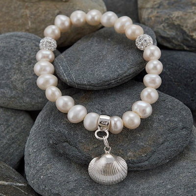 White Freshwater Pearl Bracelet with Silver Limpet Charm