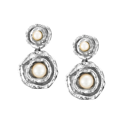 Seawater Cast Double Cup Silver and Pearl Earrings