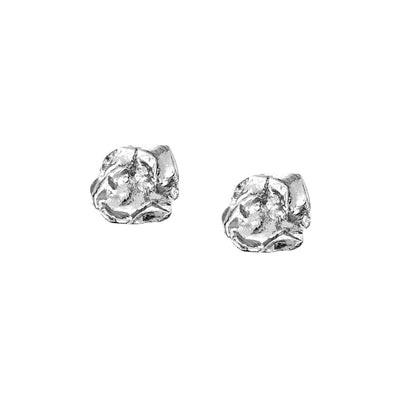 Seawater Cast Rippled Square Silver Earrings