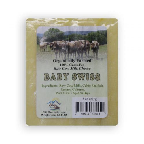 Raw cow's milk Baby Swiss Cheese- 8 oz.