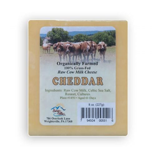 Raw cow's milk Cheddar Cheese- 8 oz.