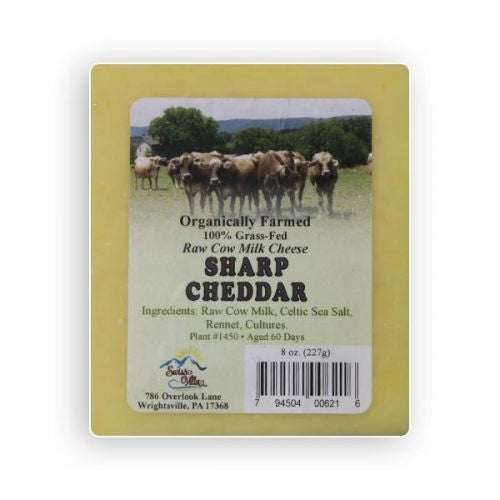 Raw cow's milk Sharp Cheddar Cheese- 8 oz.