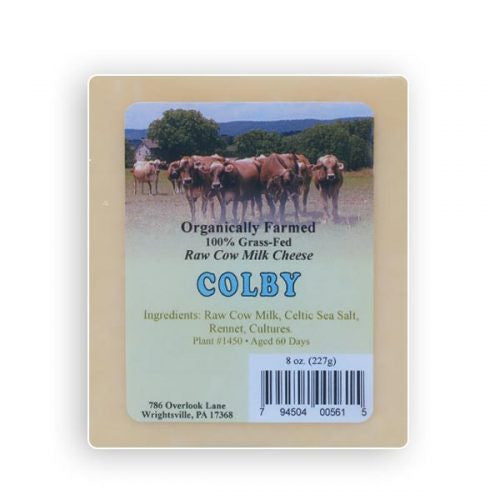 Raw cow's milk Colby Cheese- 8 oz.