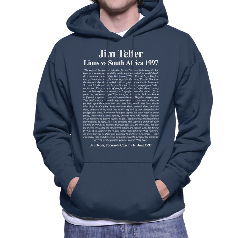 Rugby Jim Telfer Lions Vs South Africa 1997 Speech Men's Hooded Sweatshirt - coto7