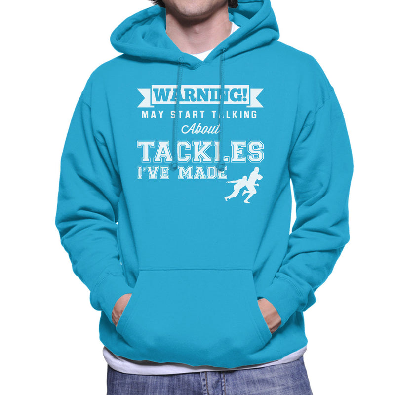 Rugby Warning May Start Talking About Tackles Men's Hooded Sweatshirt - coto7
