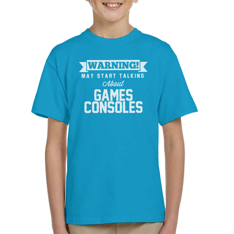 Warning May Start Talking About Games Consoles Kid's T-Shirt - coto7