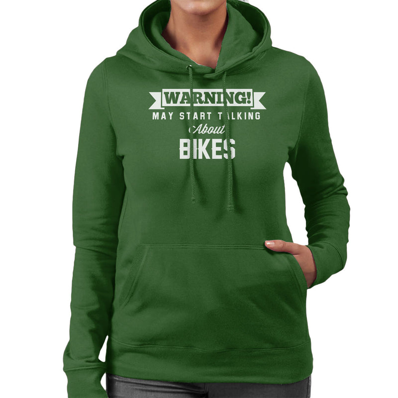 Warning May Start Talking About Bikes Women's Hooded Sweatshirt - coto7