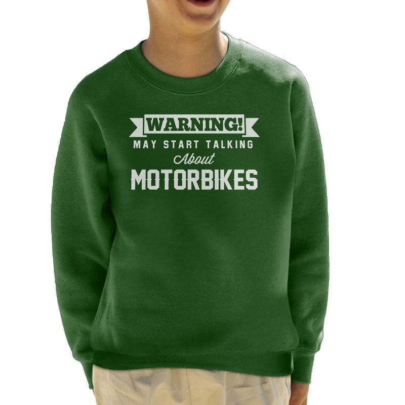 Warning May Start Talking About Motorbikes Kid's Sweatshirt - coto7