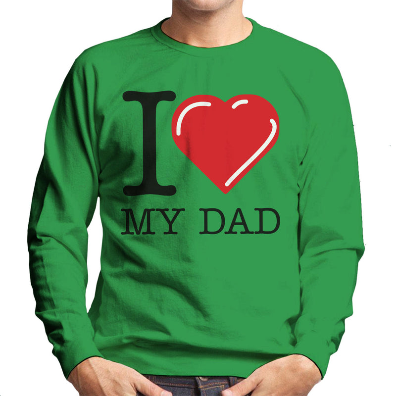 I Love My Dad Red Heart Men's Sweatshirt - coto7