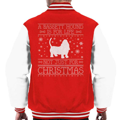 A Bassett Hound Is For Life Not Just For Christmas Men's Varsity Jacket
