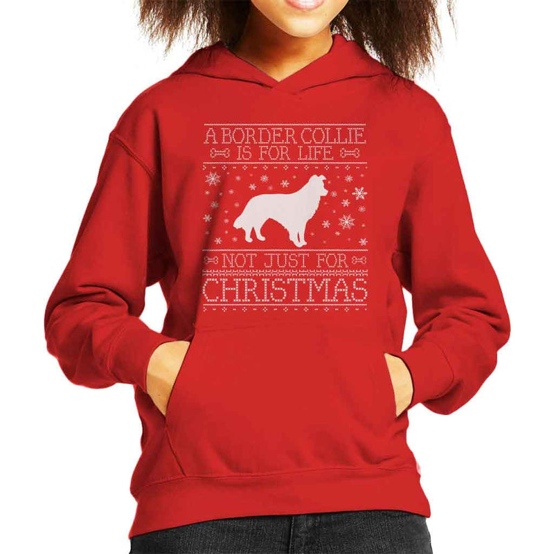 A Border Collie Is For Life Not Just For Christmas Kid's Hooded Sweatshirt