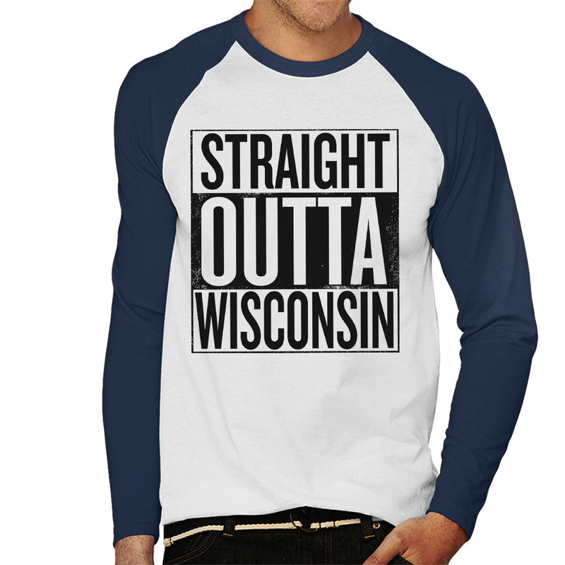 Black Text Straight Outta Wisconsin US States Men's Baseball Long Sleeved T-Shirt - coto7