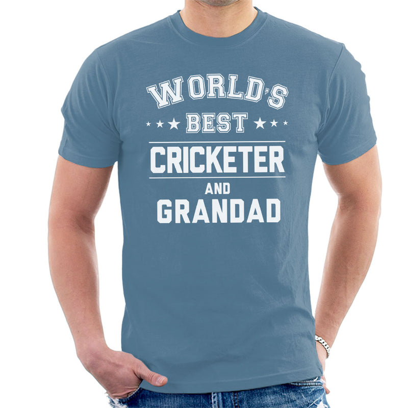 Worlds Best Cricketer And Grandad Men's T-Shirt - coto7