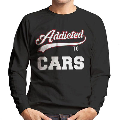 Addicted To Cars Baseball Style Text Men's Sweatshirt - coto7