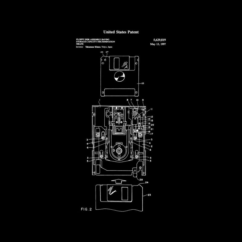 Floppy Disk Drive Patent Blueprint Men's T-Shirt - coto7