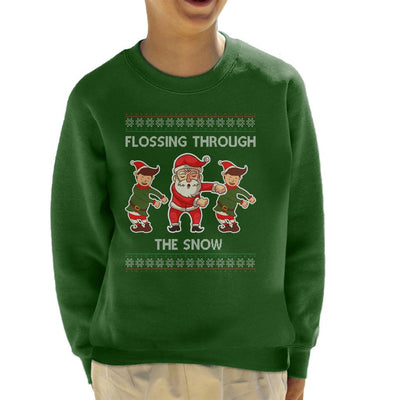 Santa Elves Flossing Through The Snow Christmas Kid's Sweatshirt - coto7