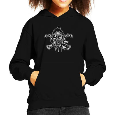 Cross Bones Gas Mask Kid's Hooded Sweatshirt - coto7
