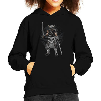 Dark Viking And Swords Motif Kid's Hooded Sweatshirt - coto7