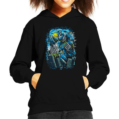 Destroy The City Futuristic Robot Kid's Hooded Sweatshirt