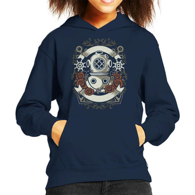 Diver Flowers Anchors Kid's Hooded Sweatshirt
