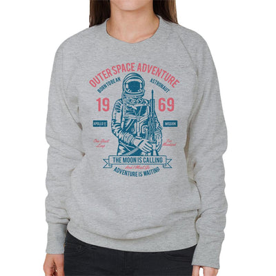 Outer Space Adventure The Moon Is Calling Astronaut Women's Sweatshirt - coto7