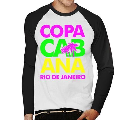 Copacabana Neon Lettering Men's Baseball Long Sleeved T-Shirt - coto7
