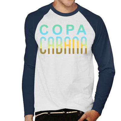 Copacabana Sunset Text Men's Baseball Long Sleeved T-Shirt - coto7