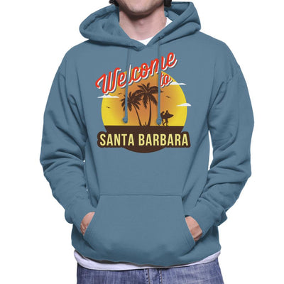 Welcome To Santa Barbara Retro Men's Hooded Sweatshirt - coto7