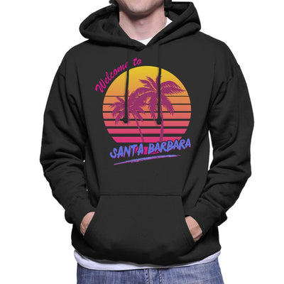 Welcome To Santa Barbara Retro 80s Men's Hooded Sweatshirt - coto7