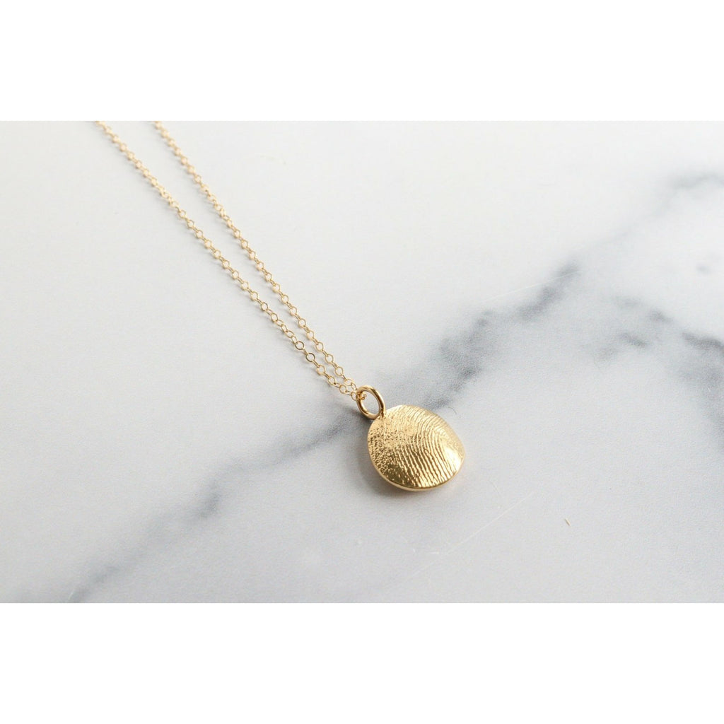 14k Gold Custom Fingerprint Charm Necklace: 14k Yellow Gold Charm & Chain - Peterson MADE