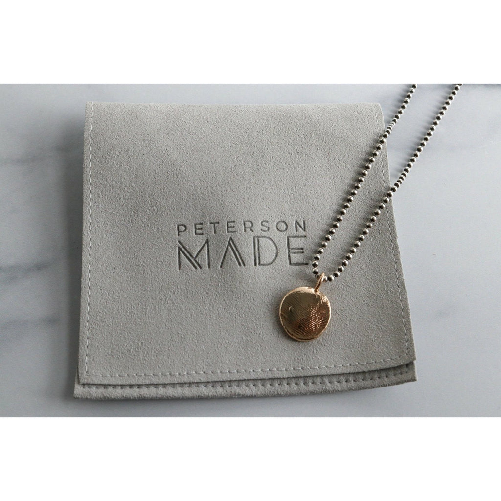 Bronze Mixed Metal Custom Fingerprint Charm Necklace: Bronze Charm & Sterling Silver Chain - Peterson MADE
