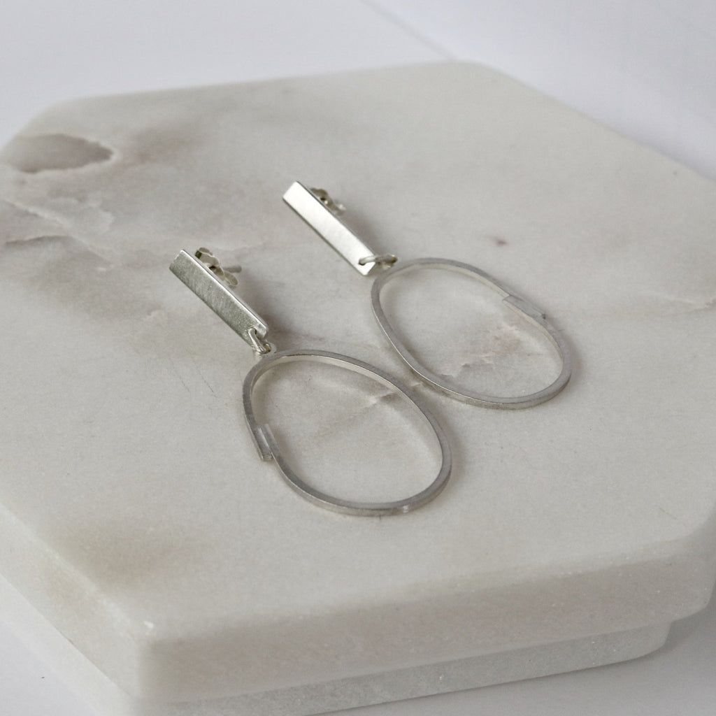Brushed Silver Oval Drop Earrings - Peterson MADE