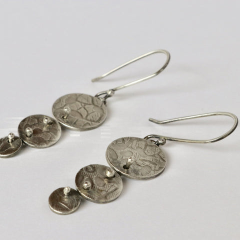 Floral Charm Dangle Earrings - Sterling Silver - Peterson MADE