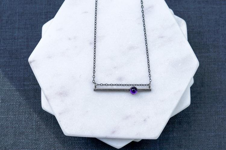 Horizontal Bar & Amethyst Bezel Set Necklace - Peterson MADE