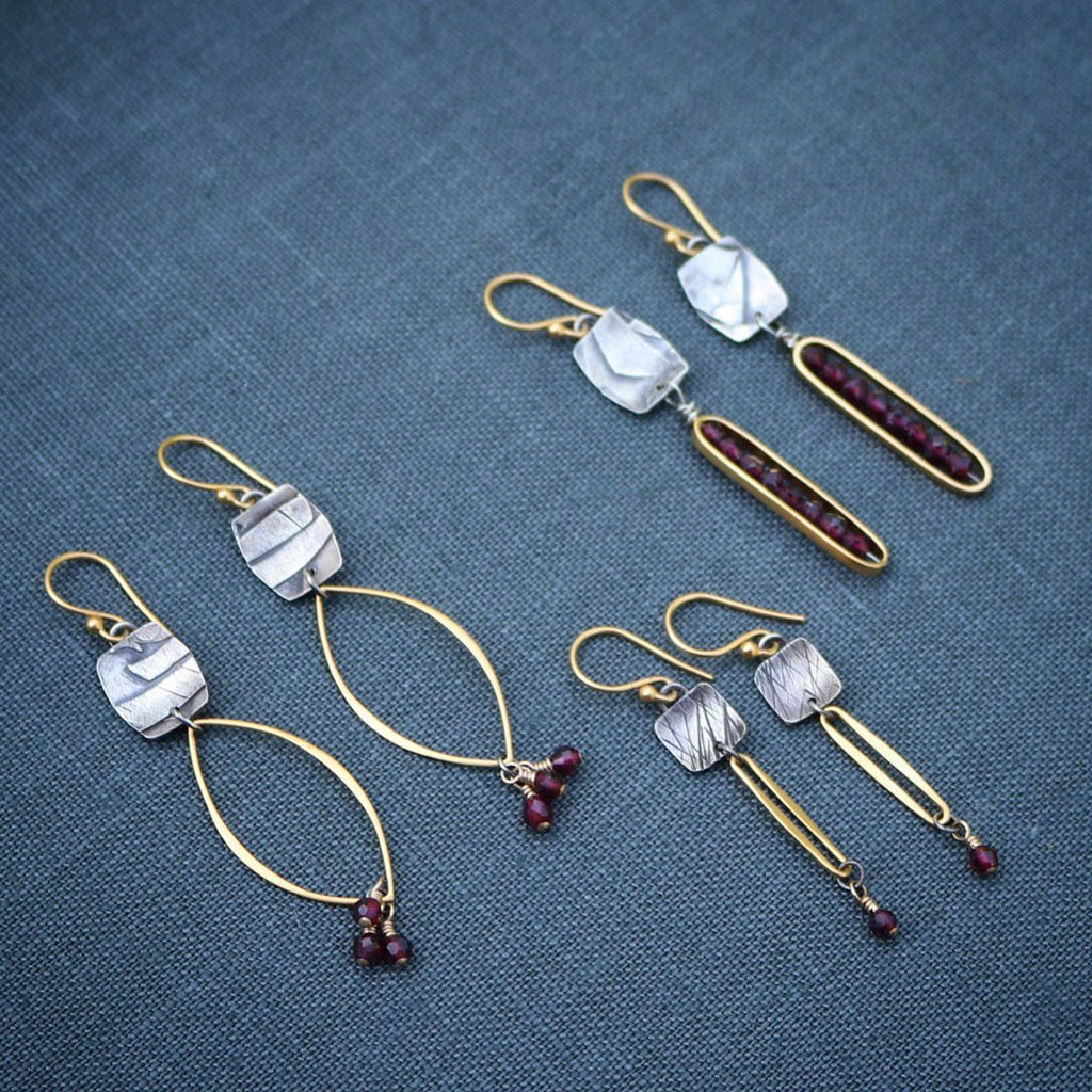 Marquis & Garnet Drop Earrings - Peterson MADE