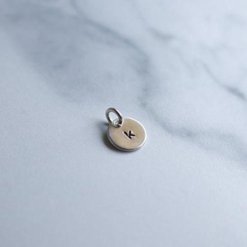 Mini Initial Charm - 3/8 in Round Sterling Silver - Peterson MADE