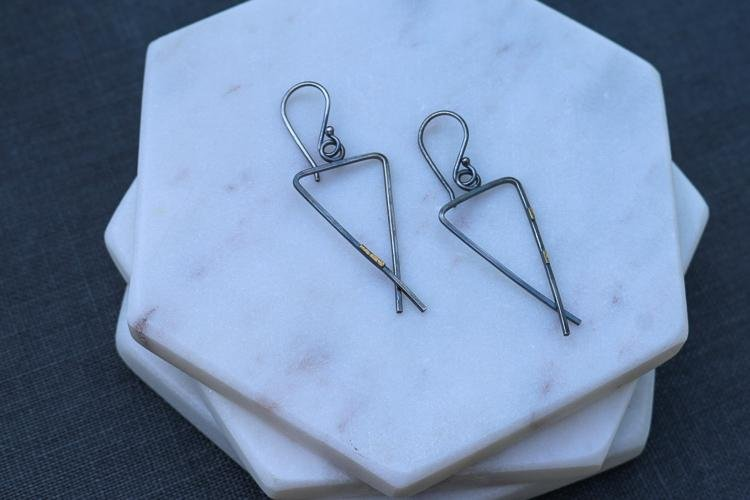 Mixed Metal Triad Dangle Earrings - Peterson MADE