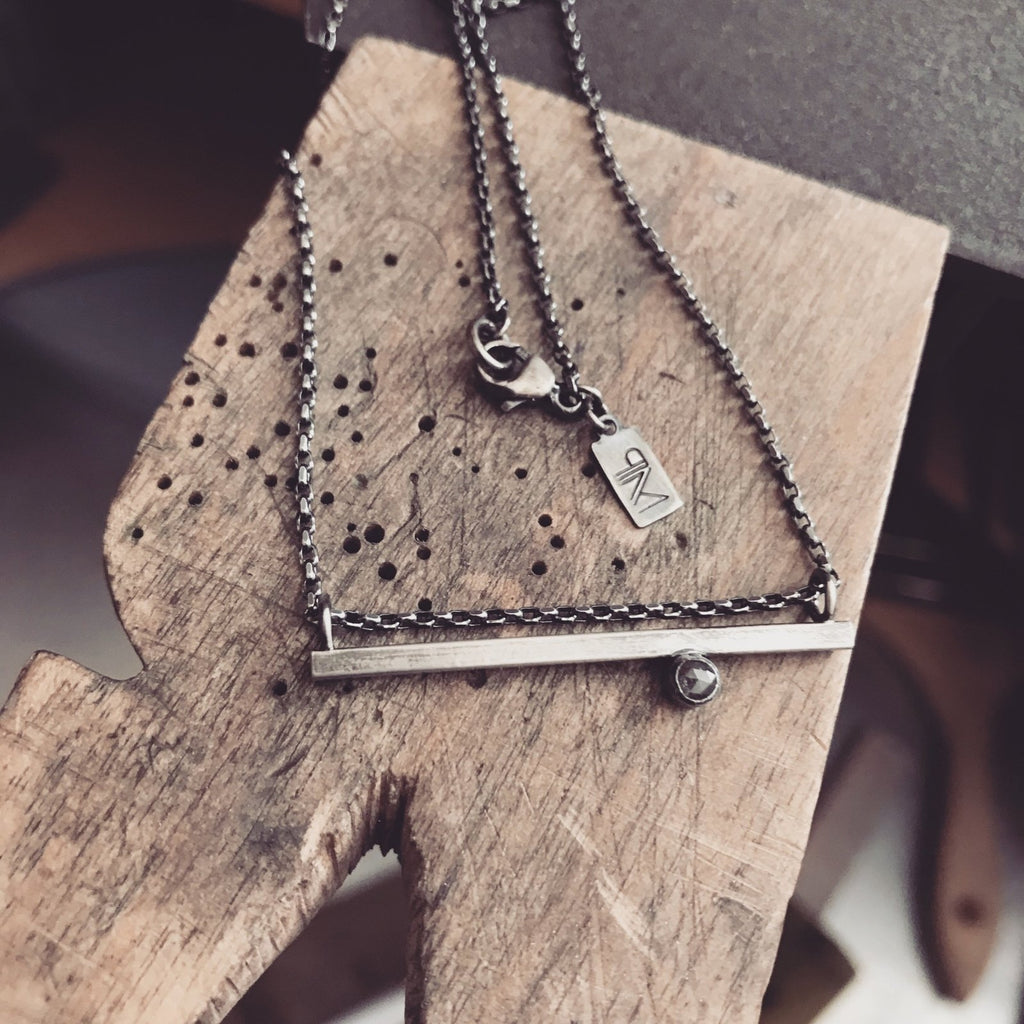 Natural Gray Diamond - Horizontal Bar Necklace - Diamond, Sterling Silver - Peterson MADE