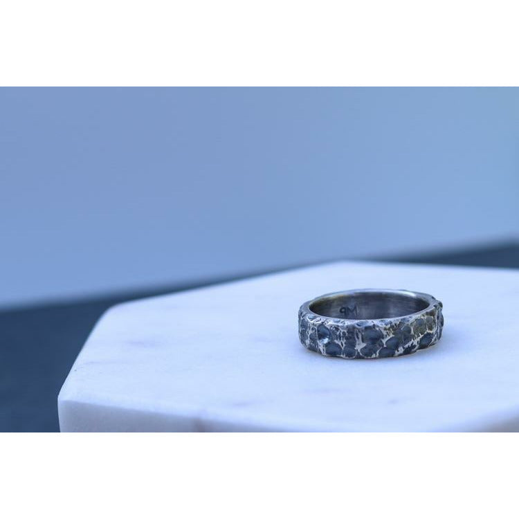 Rugged Terrain. Sterling Silver Men's Ring. - Peterson MADE