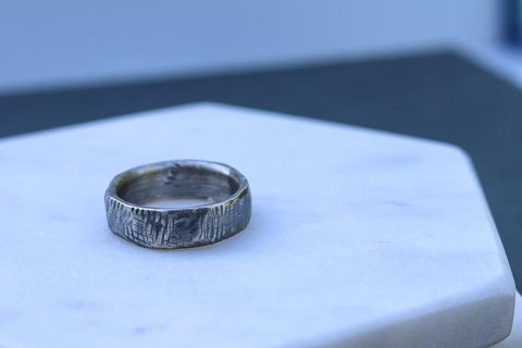 Rustic Rugged. Sterling Silver Men's Ring - Peterson MADE