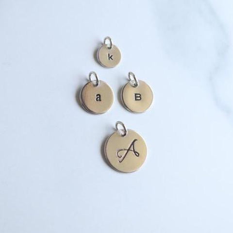 Script Initial Midi Charm - 5/8 in Round Sterling Silver - Peterson MADE