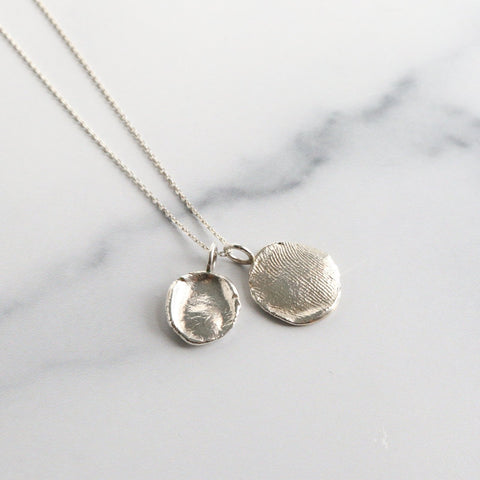Sterling Silver Custom Fingerprint Charm Necklace: SS Charm & Chain - Peterson MADE