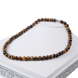 Natural Stone Lava Tiger Eye Beaded Necklace
