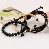 Men's 3 Pcs Wood Beads Knitted Leather Bracelets