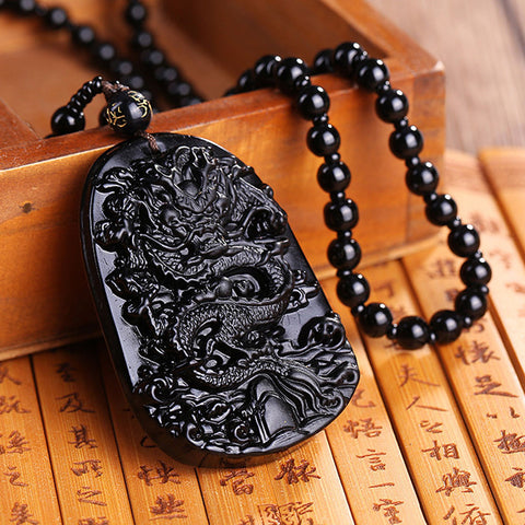 Natural Obsidian Carving Dragon  Necklace