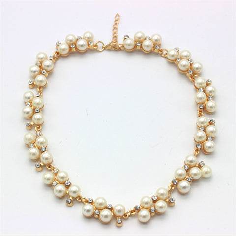 Imitation Diamond Short  Pearl Choker