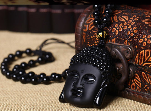 Men/Womens Obsidian Crystal Sakyamuni  Buddha Necklace