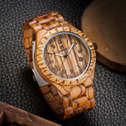 Hot Mens  Wooden  Quartz Dress Watches